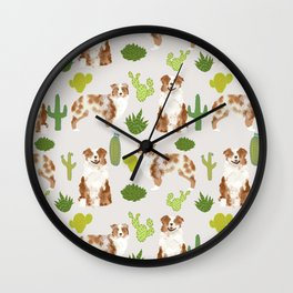 Australian Shepherd owners dog breed cute herding dogs aussie dogs animal pet portrait cactus Wall Clock