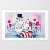 moomin Art Prints featuring Moomin Family by Vivian Z