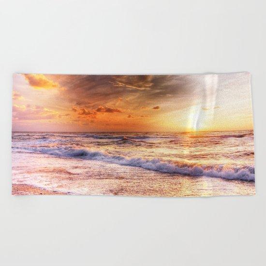Burning Sea Beach Towel