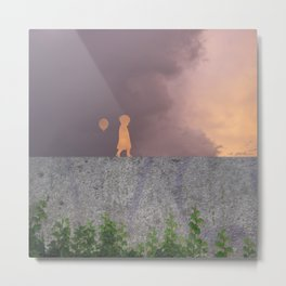 Sunset with girl walking on a wall followed by a balloon Metal Print
