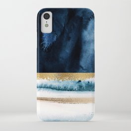 Navy Blue, Gold And White Abstract Watercolor Art iPhone Case