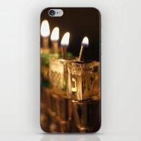 jewish iPhone & iPod Skins featuring Chanukah (Hanukkah) Menorah - Jewish Holiday by allisonpink