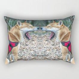 Shiba Inu yelling in the woods Rectangular Pillow