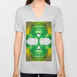 psychedelic skull art geometric triangle abstract pattern in green yellow Unisex V-Neck