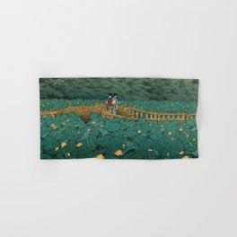 Vintage Japanese Woodblock Print Kawase Hasui Japanese Children Lotus Flowers Garden Wooden Bridge Hand & Bath Towel