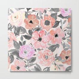 Elegant simple watercolor floral Metal Print