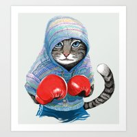 boxing Art Prints featuring Boxing Cat by Tummeow
