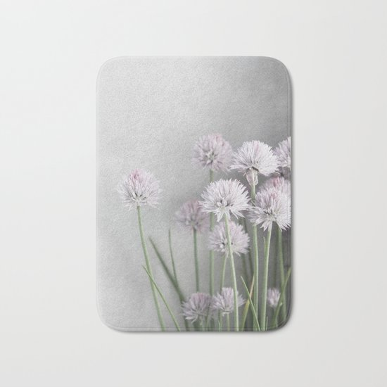 Lavender Flowers on Green Chives Bath Mat