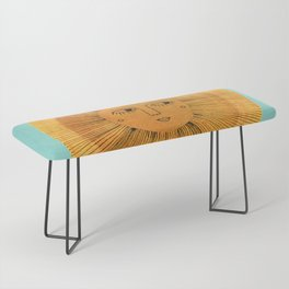 Sun Drawing - Gold and Blue Bench