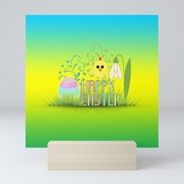 Happy Easter Egg, Chick and Snowdrop Mini Art Print