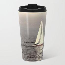 Sailing boat on the lake Metal Travel Mug