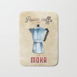 Cafe Poster: Coffee Break with Moka Bath Mat