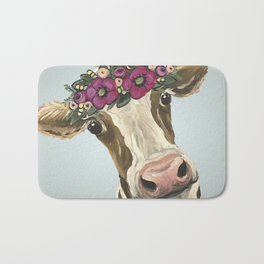 Cow with Flower Crown, Cute Cow Art Bath Mat