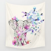 ornate elephant Wall Tapestries featuring Playful Elephant by Crystal Walen