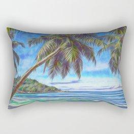 Tropical island beach Rectangular Pillow