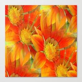 Seamless Vibrant Yellow Gazania Flower Canvas Print