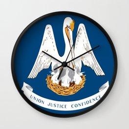 Flag of Louisiana -Louisianian,south, jazz,blues,french, new orleans, baton rouge,usa,america,us Wall Clock
