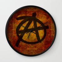 sons of anarchy Wall Clocks featuring Anarchy by BruceStanfieldArtist.DarkSide