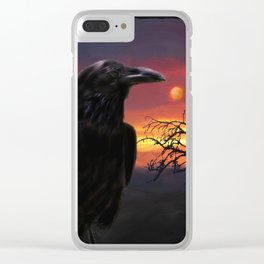 Raven Sunset Clear iPhone Case