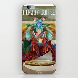 Rainbow Mantis Shrimp Enjoys Coffee iPhone Skin