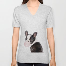 French Bulldog Puppy Blowing Pink Bubble Gum (sw) Unisex V-Neck
