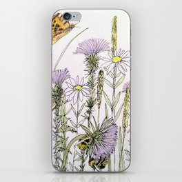 Bees Butterfly Thistle Watercolor Illustration Nature Art iPhone Skin