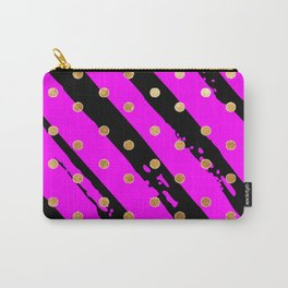Purple and black stripe gold dot pattern Carry-All Pouch