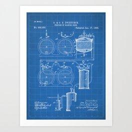 Brewery Patent - Beer Art - Blueprint Art Print