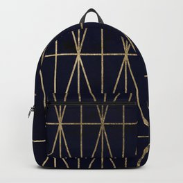Modern gold geometric triangles pattern navy blue watercolor Backpack