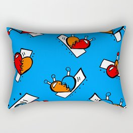 Hearts with Stitches - Blue Red Orange - Bright Blue Rectangular Pillow