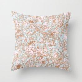 Mint Blush & Rose Gold Metallic Marble Texture Throw Pillow