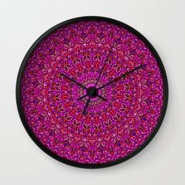 Deep Pink Garden Mandala Wall Clock
