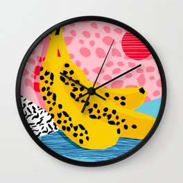 What It Is - memphis throwback banana fruit retro minimal pattern neon bright 1980s 80s style art Wall Clock