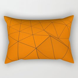 Orange low poly displaced surface with black lines Rectangular Pillow