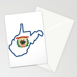 West Virginia State Map Flag WV Silhouette Pride Stationery Cards