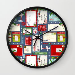 Kids Letters to Santa l Christmas Pattern - Blue Wall Clock