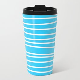 Simply small aqua and white handrawn stripes - horizontal - for your summer on #Society6 Travel Mug