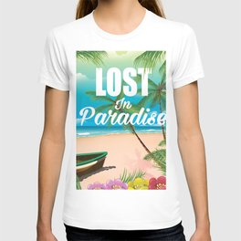Lost in paradise travel poster T-shirt