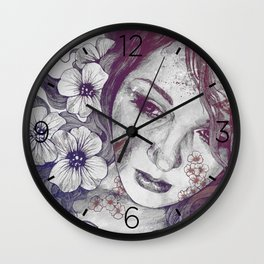 Cleopatra's Sling: Red & Blue | flower tattoo lady portrait drawing Wall Clock