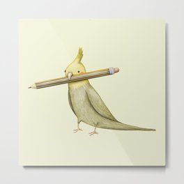 Cockatiel & Pencil Metal Print