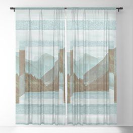 Abstract Landscape Sheer Curtain