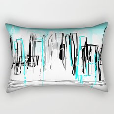 City Painted in Aqua Rectangular Pillow