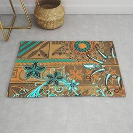 Hawaiian - Samoan - Polynesian gold and Teal Boar Tusk Print Rug