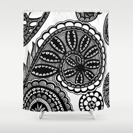 Waves and Spirals Shower Curtain