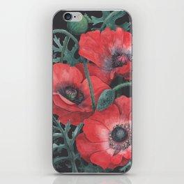 Poppies on Dark Background iPhone Skin