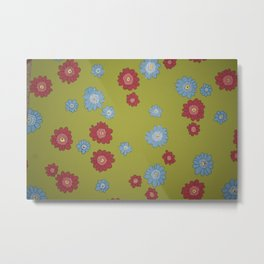 Scribble Flower Pattern Design - Wild Veda Metal Print