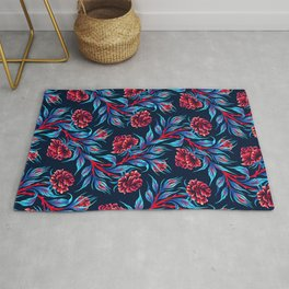 Roses - Dark Blue Red Rug