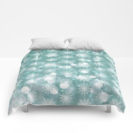 Holiday Teal and Flurries Comforters