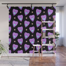 Planchette Pattern on Black Wall Mural