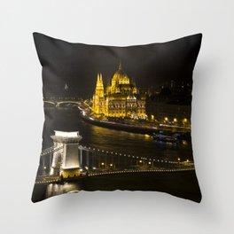 Budapest At Night Throw Pillow
